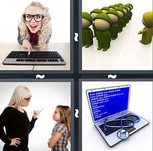 Girl at Keyboard, Army Cartoon, Mom and Daughter, and Computer with Stethoscope