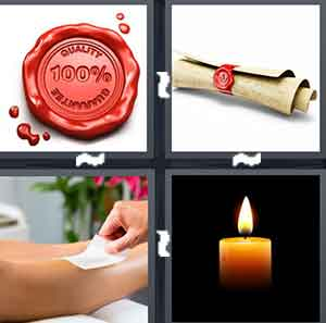A red seal, A diploma with a red seal closing it, A person with a white piece of paper on their legs, and A candle that is lit