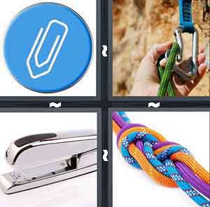 A blue icon with a paperclip on it, A person's hand clipping on a green rope, A silver stapler, and A bunch of different colored ropes tied together