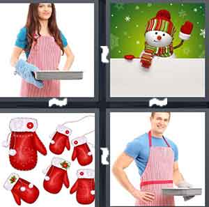 A woman holding a baking pan, A cartoon snow man waving, A bunch cartoon mittens that are red, and A man in a red apron, holding a baking pan