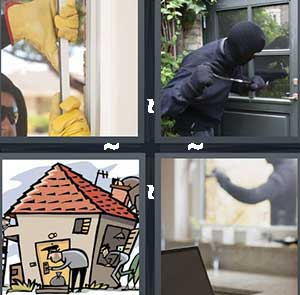 A man breaking into a door, A man dressed in all black breaking a window, Cartoon house with a robber, and Breaking and entering