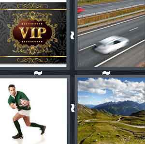 A card that reads VIP, A white car driving on the road, A ruby player catching a ball, and A road leading to a dark mountain