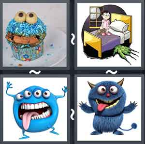 Muffin with a cartoon shape, Cartoon image of monster under a bed, Cartoon of a monster, and Blue cartoon character smiling