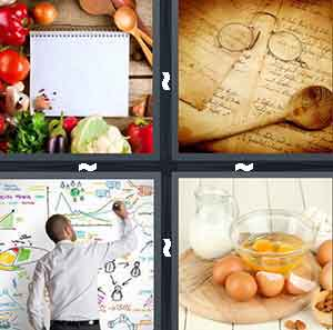 Ingredients with a piece of paper, Recipe book and spoon, Man drawing on white board, and Eggs and milk