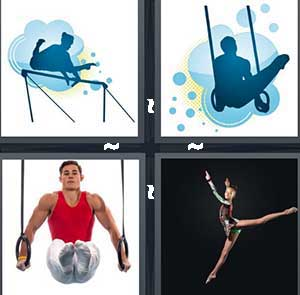 A person on the pole vault, An athlete, A male gymnast, and A floor dancer