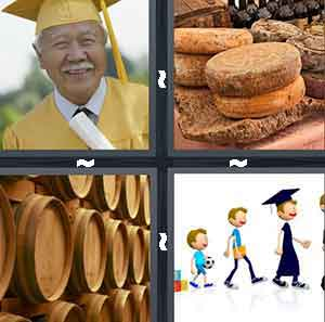 An older man with graduation attire on, A pile of old cheese, A bunch of old barrels piled together, and Cartoon figures walking in a like and one of them is in graduation attire