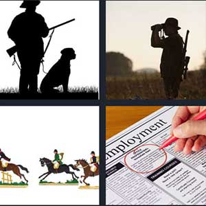 Man holding a gun with dog sitting on the side, Man checking with binoculars, Jockeys riding horses, and Person circling an ad on a paper