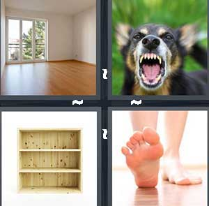 An empty room with hardwood floor, A dog growling, An empty wooden book shelf, and A foot stepping on the ground