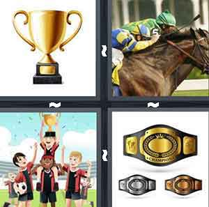 Gold trophy cup, Soccer team carrying trophy, Horse racer and jockey, and Championship boxing belts