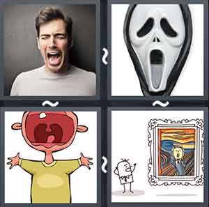 Man with open mouth, Scary face mask, Child crying, and Cartoon looking at a painting
