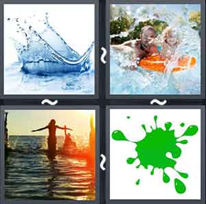 Splashing water, Man and girl swimming, Girl jumping in water, and Splashed green paint