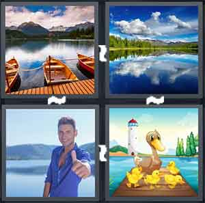 Three boats on a lake, A lake with a lot of trees around it, A man with his thumb up, and A cartoon drawing of a Duck with Ducklings