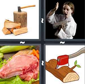An ax on top of a tree stump, A person doing karate, A piece of meat, and A cartoon drawing of an ax in wood
