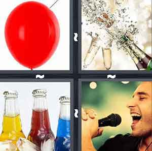 Red balloon, Popping champagne bottles, Soda pop, and Boy man singing into microphone