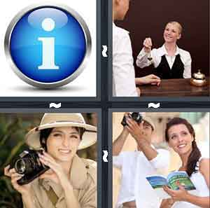 "A blue circle with the letter ""I"" in the middle, A woman behind a desk handing over keys, A woman with a black camera, and A person holding a book while the other person holds a camera"