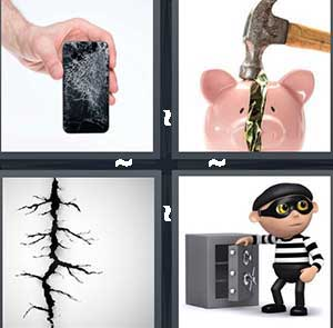 A broken phone screen, A hammer and a piggy bank, A crack in the floor, and A robber opening a safe