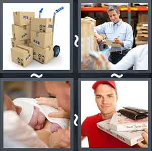 Boxes on a trolley, A man standing near boxes holding a paper in his hand, A newborn baby, and A deliveryman with a pizza box in his hand