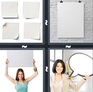Four pieces of blank paper, A white piece of paper, Girl holding up paper, and Empty white thought bubble