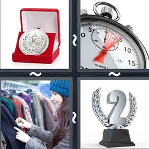 "A red box containing a small shield, A clock, A girl looking at clothes, and A trophy forming the number ""2"""