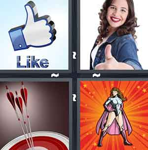 The Facebook like button, A girl giving the thumbs up, Bows and arrows, and A woman super hero