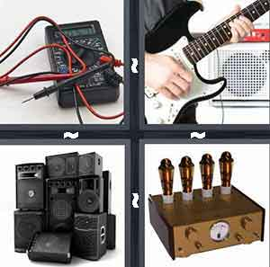 Guitar amp, Electric guitar, Speakers, and Music dials machine