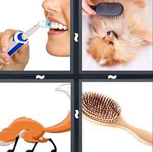 A person brushing their teeth, Someone brushing their dog with a comb, A cartoon animal holding a broom, and A comb