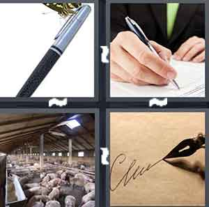 A silver and black writing utensil, A person writing, A bunch of Pigs, and A person writing something on paper
