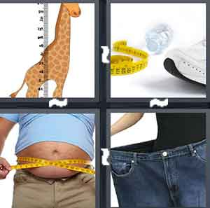 A cartoon Giraffe being measured, Measuring tape with a shoe next to it, A person measuring their belly, and A person stretching out their jeans