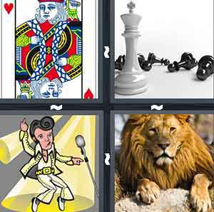 A playing card, A white Chess piece with all other Chess pieces lying down, A cartoon figure of Elvis, and A Lion lying down