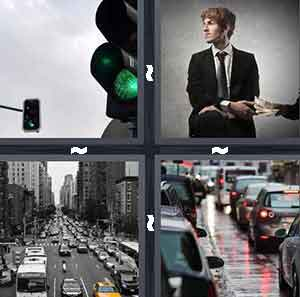 Green traffic light, Man in suit passing paper, Cars on the road, and Traffic jam on the highway street