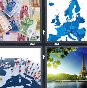 Money, Blue land, Word/earth, and Paris/Eiffel Tower