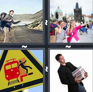 Hitchhiker, Tourists, Man carrying books, and Danger on tracks sign, Don't trip