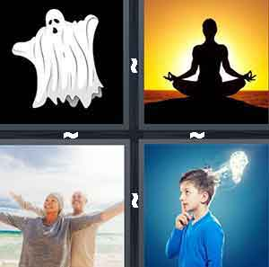 A cartoon ghost, A person meditating, Two people with their arms out on the beach, and A child with his hand on his chin and a light attached to his head