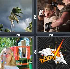 "A palm tree in the window, Two people fighting with gloves on, A child making bubbles, and A cartoon drawing with the word ""Boom"""
