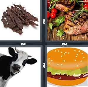 A pile of beef jerky, A cooked piece of meat, A cow, and A cartoon hamburger
