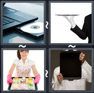 An open disk tray of a laptop, A man holding a tray, Lady holding a tray of cupcakes, and Man hiding his face with a tray