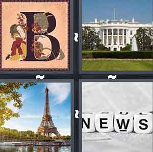 Capital letter B, Government building, Paris Eiffel Tower, and News letter blocks
