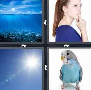 Blue Skies, Woman with blue shirt, Sun in blue sky, and Blue Bird