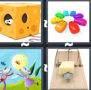 A cartoon block of cheese with something in it, Different colored computer objects in a circle, A cartoon drawing of two animals, and A mouse trap