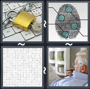 Lock with a key, Finger print, A coded paper, and Man solving a newspaper puzzle