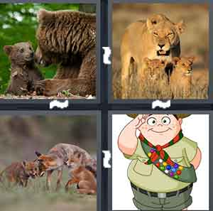 A bear and a younger bear, A female lion and a two baby Lions, A family of Foxes, and A cartoon boy scout