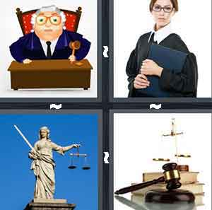 A cartoon judge, A woman judge holding a file, A statue of someone holding a balancing device, and A court hammer and books behind it