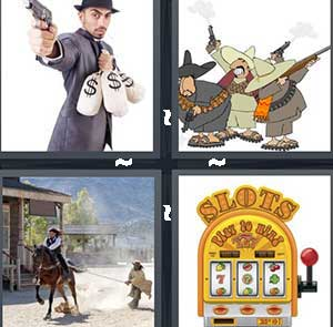 A man holding a gun and carrying bags of money, Cartoon western characters, A man riding a horse by a saloon, and A slot machine