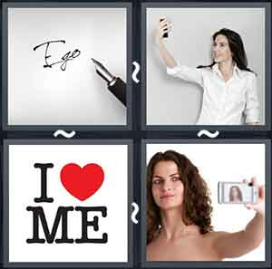 "A pen writing the letters ""EGO"", Lady looking at her mobile, Words ""I"" & ""me"" with a heart symbol in between them, and Lady taking a picture of herself from her mobile"