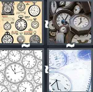 A drawing of a variety of clocks, A pile of clocks, A pile of clocks touching each other, and A clock next to a piece of paper