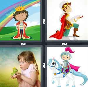 A cartoon figure wearing a red cape and gold crown under a rainbow, A person wearing a red cape and gold row on one knee, A little girl holding a green frog, and A cartoon figure of a knight on a horse