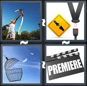 A person shooting a bow and arrow, A seatbelt and a seatbelt sign, A bird cage that is left opened, and A movie clipboard with the word Premiere on it