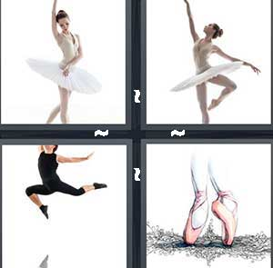 A ballerina, A girl in a tutu, A girl jumping through the air, and Pink ballet shoes
