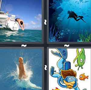 A person jumping into the ocean, A person swimming at the bottom of the ocean, Another person jumping head first in to the ocean, and Scuba diver
