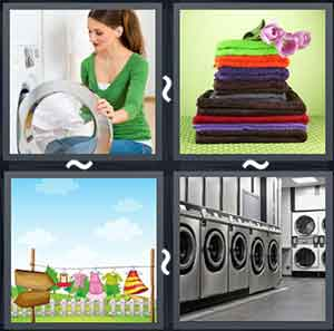 Women putting clothes in a washing machine, A stack of folded towels, Clothes handing on a line, and A laundry room
